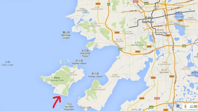 The arrow points to the location of Bright Moon Bay.